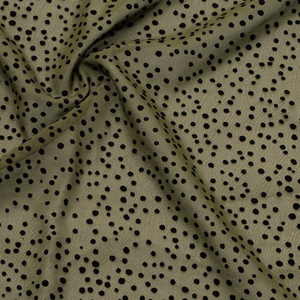 Polyester Chiffon beflockt Punkte Oliv-Grün