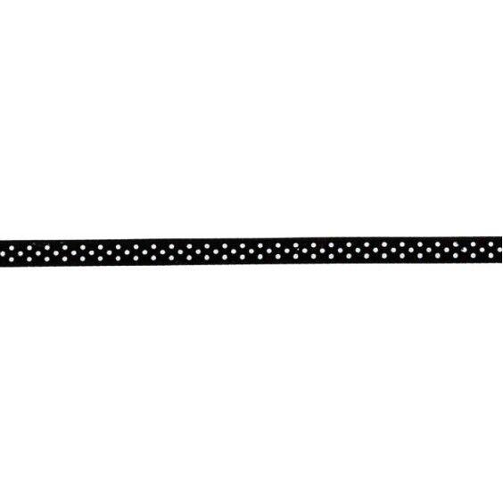 Prym Satinband gepunktet 6mm x 4m (Breite / Länge) schwarz / weiss
