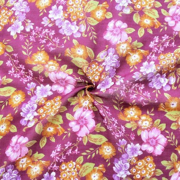 Baumwolle Seide Musselin Blütenpracht Fuchsia