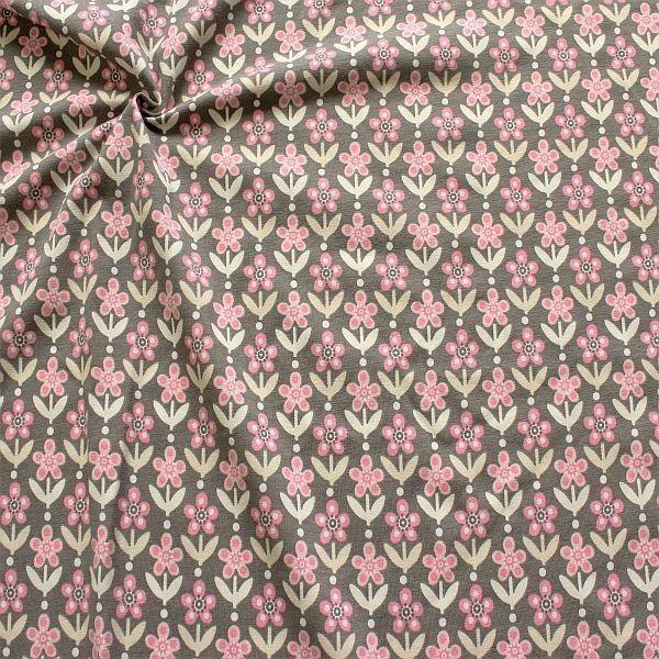 Baumwoll Stretch Jersey Blumen Reihen Grau-Rosa