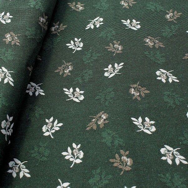 Jacquard Dekostoff Doubleface Blütenzweige Grün-Beige
