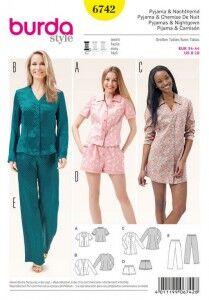 Pyjama, Nachthemd – Shorts – Bluse – Tunika, Gr. 34 - 44, Schnittmuster Burda 6742