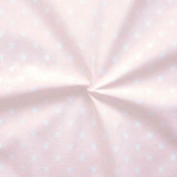 Baumwolle Popeline Kronen klein Rosa Weiss