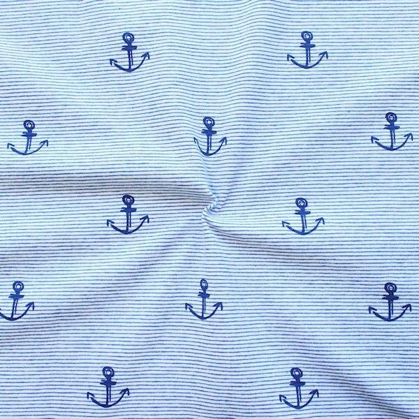 """Baumwoll Stretch Jersey """"Anker & Streifen"""" Farbe Hell-Blau Weiss"""