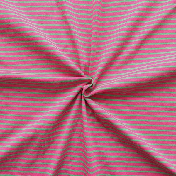 Ringel Jersey Farbe Pink-Grün