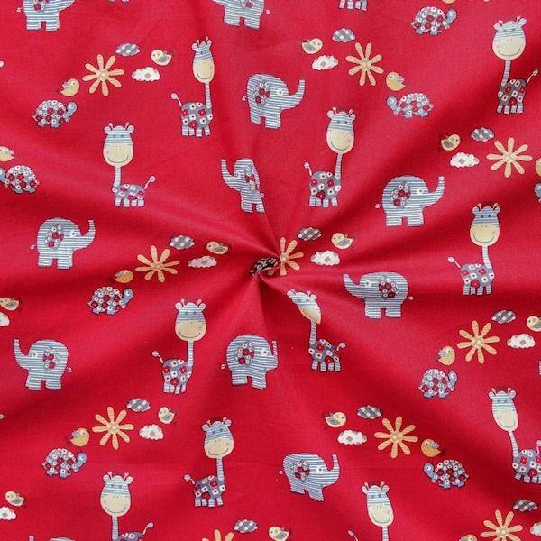 "100% Baumwollstoff ""Little Animals 2"" Farbe Rot"