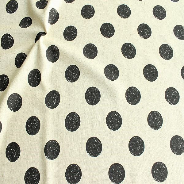 Viskose-Leinen Stoff Fashion Dots Natur-Schwarz