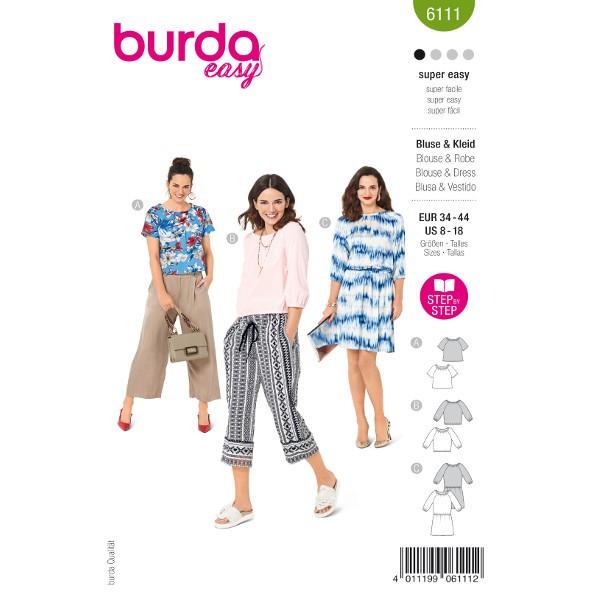 Blusen und Kleid, Gr. 34 - 44 Schnittmuster Burda 6111