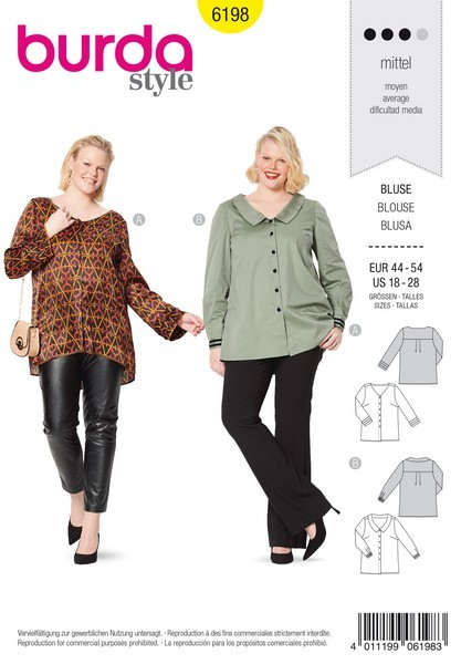 Bluse – Schulterpasse – V- Ausschnitt – Kragen, Gr. 44 - 54, Schnittmuster Burda 6198