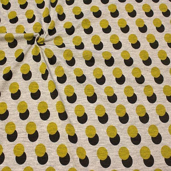Viskose Stretch Jersey Doppel Kreis Melange Grau Grün