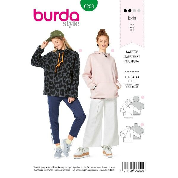 Sweater – Hoody, Gr. 34 - 44, Schnittmuster Burda 6253