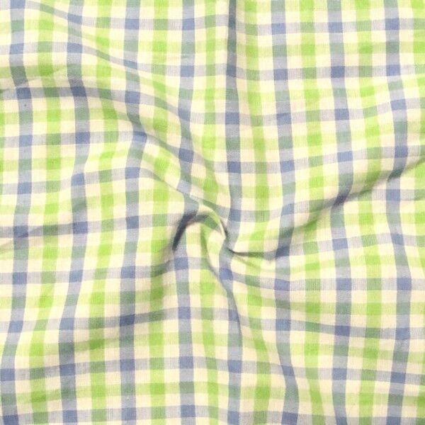 """Baumwollstoff Hemden Qualität """"Fashion Karo 3"""" Farbe Grün-Weiss-Blau"""