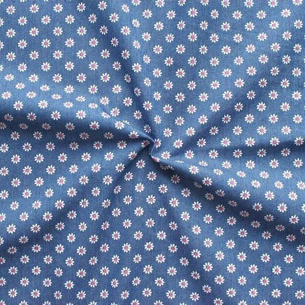 """Stretch Denim Jeans Stoff """"Blümchen 8"""" Farbe Mittel-Blau"""