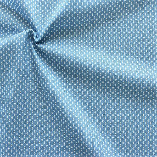 Baumwollstoff Popeline Rauten Mini Hell-Blau