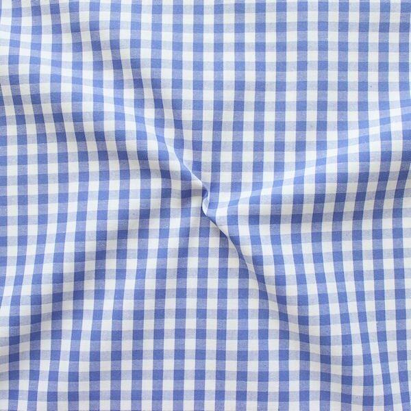 """Baumwollstoff Hemden Qualität Vichy """"Karo mittel"""" Farbe Blau-Weiss"""