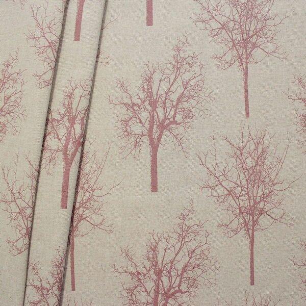 """Dekostoff """"Bäume XXL"""" Farbe Natur-Rosé"""