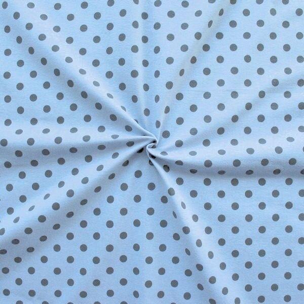 """Baumwoll Stretch Jersey """"Punkte Mittel"""" Farbe Hell-Blau Grau"""
