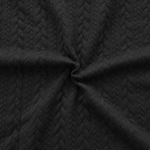 "Jacquard Strick Jersey ""Zopfmuster"" Farbe Schwarz"