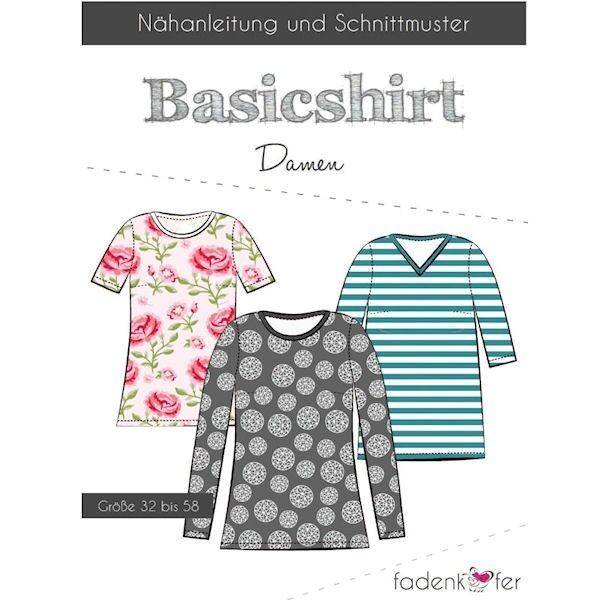 """Fadenkäfer Schnitt """"Basicshirt"""" Damen Größe 32 - 58"""