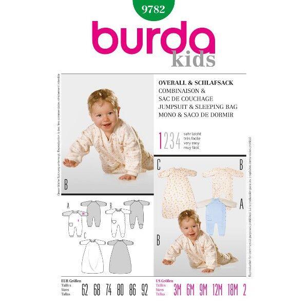 Burda 9782 Schnitt für Schlafsack und Baby-Overall mit und ohne Füßlinge