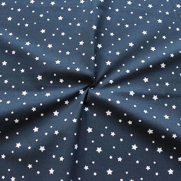 Baumwollstoff Sterne Mix Navy-Blau