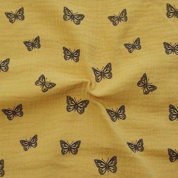 Baumwoll Musselin Double Gauze Schmetterlinge Curry-Gelb