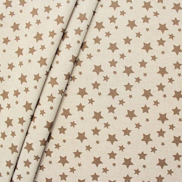 Dekostoff Sterne Mix Natur Braun