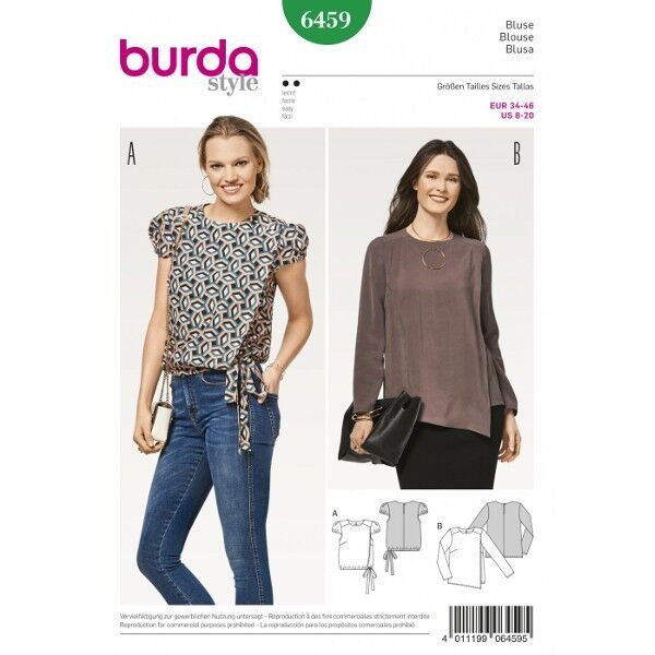 Bluse mit Wickeleffekt – kurze Puffärmel – Gummizugabschluss, Gr. 34 - 46, Schnittmuster Burda 6459
