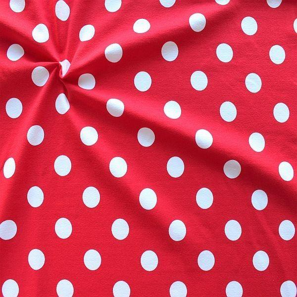 Baumwoll Stretch Jersey Big Dots Rot-Weiss