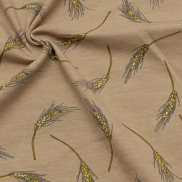 Baumwoll Stretch Jersey Weizenähren Beige