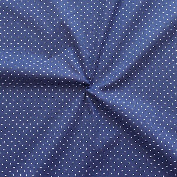 Stretch Baumwolle Popeline Punkte Mini Blau-Weiss
