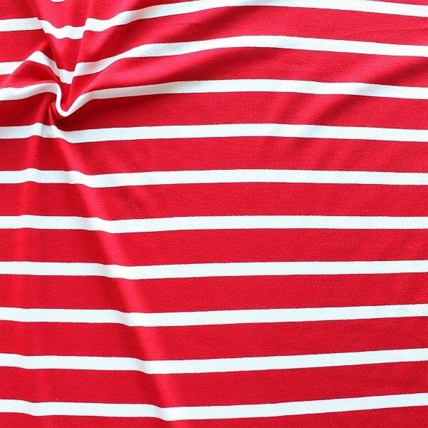 Viskose Stretch Jersey Ringel Maritim Rot-Weiss