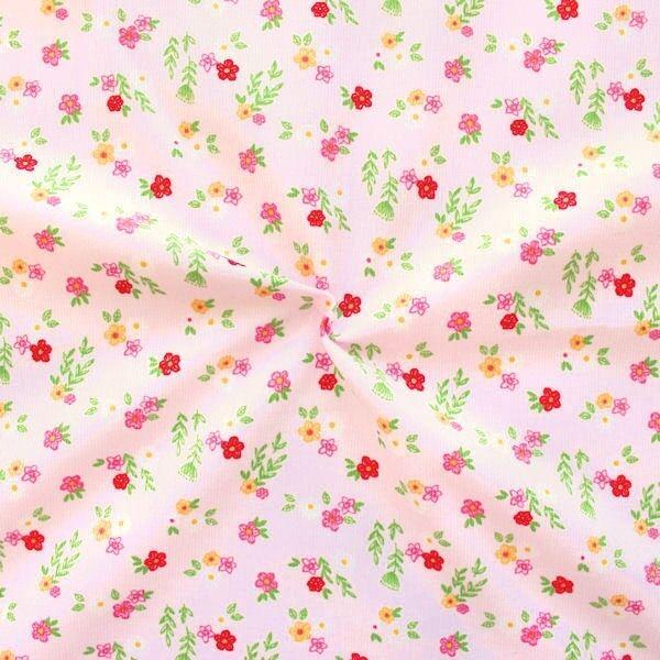 "2,20 Meter Feincord Baumwollstoff ""Blumenwiese 4"" Farbe Rosa"