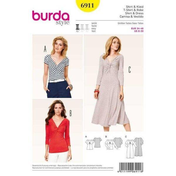 Shirt, Kleid, Gr. 34 - 46, Schnittmuster Burda 6911