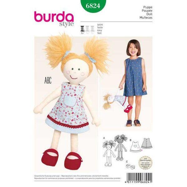 Burda Schnittmuster 6824 40 Zentimeter große Puppe mit Kleid und Schuhen