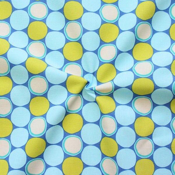 100% Baumwollstoff Retro Kreise Blau-Grün