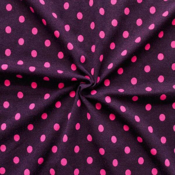 """Baumwoll Stretch Jersey """"Punkte Mittel"""" Farbe Dunkel-Aubergine Pink"""