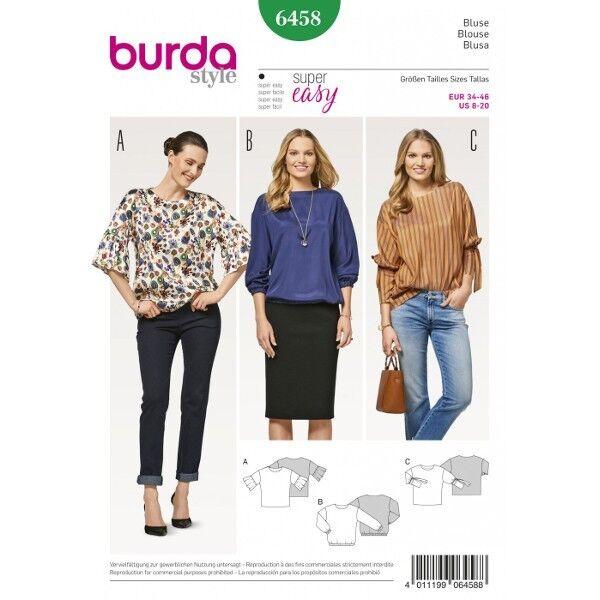 Bluse ohne Verschluss – überschnittene Schulter – drei verschiedene Ärmel, Gr. 34 - 46, Schnittmuster Burda 6458