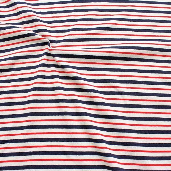 Baumwoll Sweatshirt French Terry Streifen Maritim Navy-Weiss-Rot