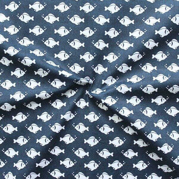 """100% Baumwolle Popeline """"Fische klein"""" Farbe Navy-Blau"""