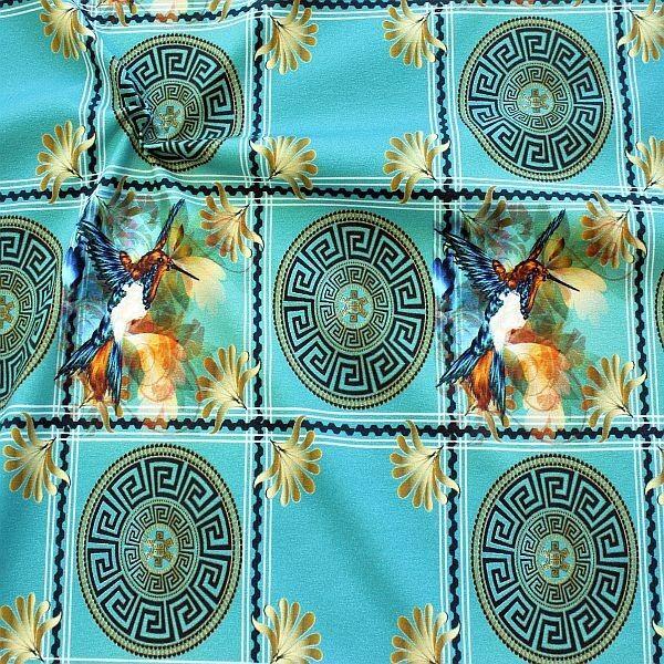 Baumwoll Stretch Jersey Kolibri mit Ornament Petrol Türkis
