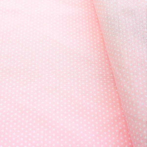 Baumwollstoff Sterne mini Rosa-Weiss