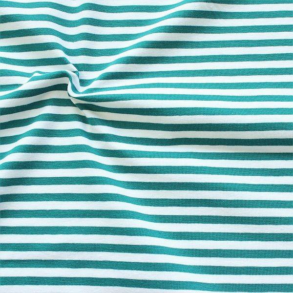 Baumwoll Stretch Jersey Ringel Wasser-Blau Weiss