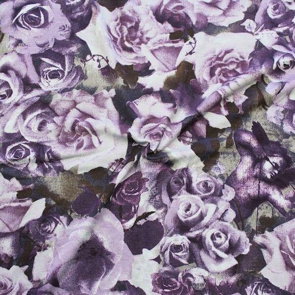 "Viskose Stretch Jersey ""Romantic Roses"" Farbe Lila"