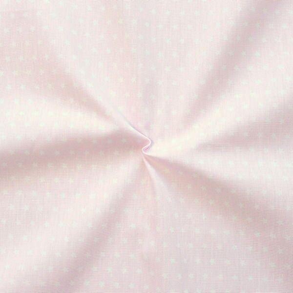 Baumwolle Popeline Sterne klein Rosa Weiss
