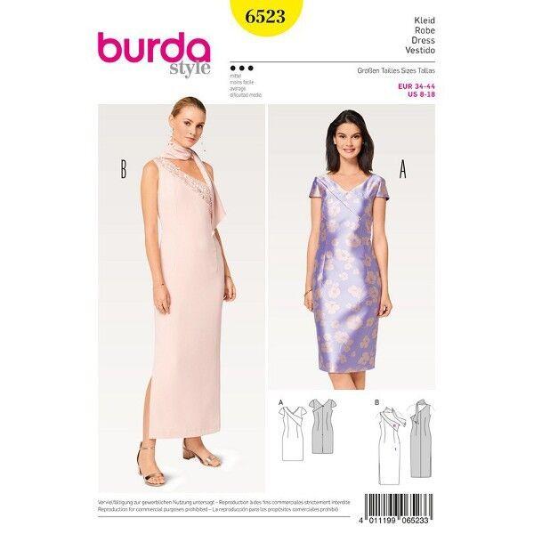 Kleid - asymmetrisch - One-Shoulder-Kleid, Gr. 34 - 46, Schnittmuster Burda 6523