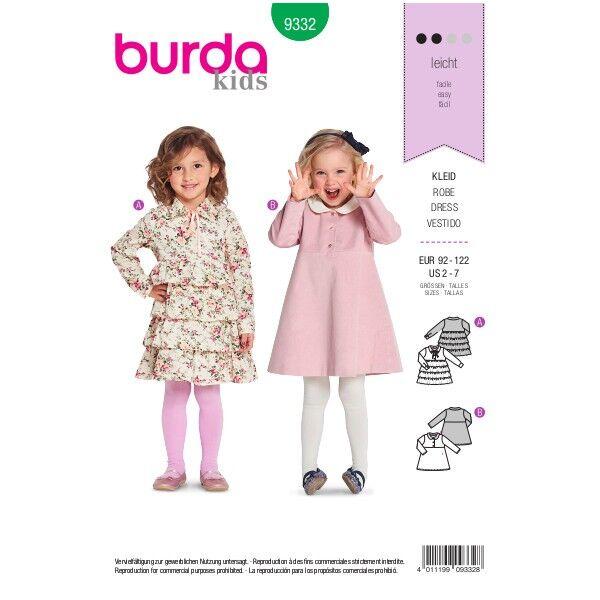 Mädchen-Kleid , Gr. 92 - 122, Schnittmuster Burda 9332 | Stoffkontor.eu