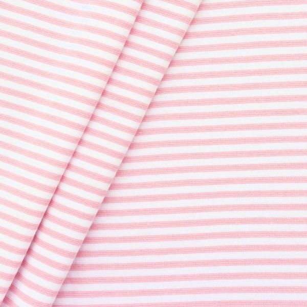 Baumwoll Bündchenstoff Ringel glatt Rosa-Weiss