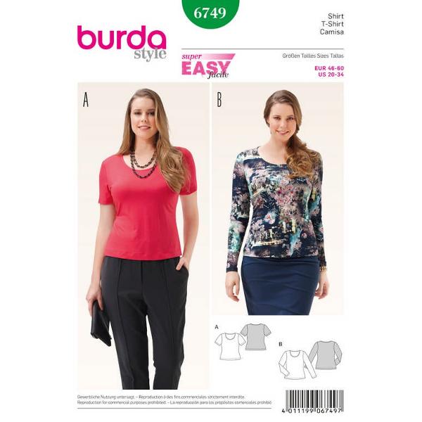 Shirt – runder Ausschnitt, Gr. 46 - 60, Schnittmuster Burda 6749