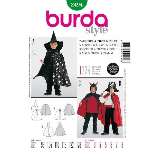 Burda 2494 Schnittmuster für Jungenkostüm Pirat, Zauberer und Teufelchen